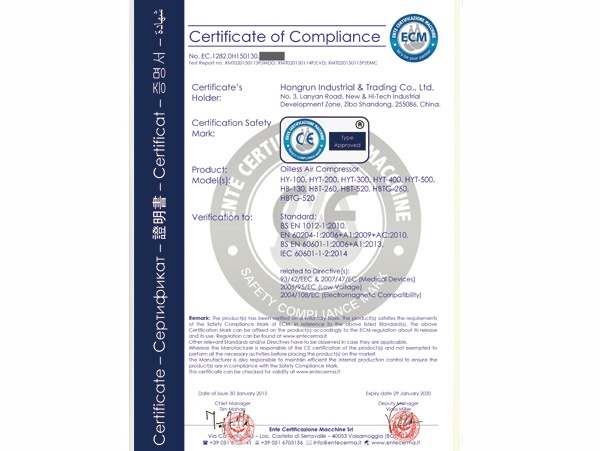 CE Certificate For Air Compressor